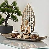INtrenDU Dekoschale Teelichthalter orientalisch mit Buddha Figur Dekosteinen und Zwei Teelichtern zur Meditation - 2