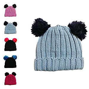 37a70fea4d5 Girls Single and Double Pom Pom Winter Hats Caps Kids Beanies Single ...