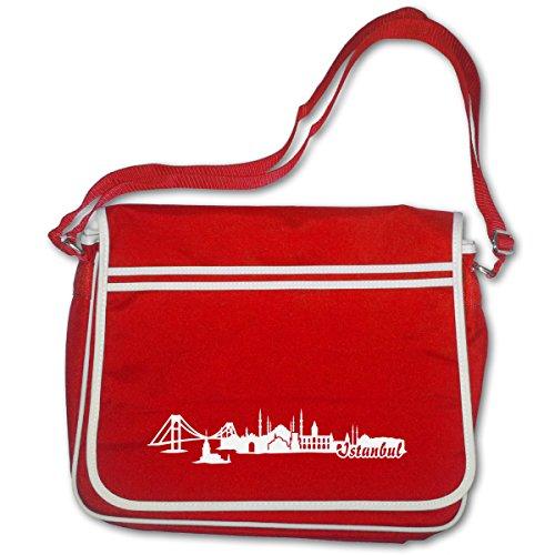 plot4u Schultasche Istanbul Skyline Türkei Bag Base® BagBase Retro Messenger 40x30x10cm rot/weiß (Bag Rote Messenger Retro)