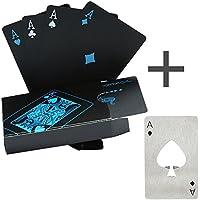 Cartas de póquer impermeables negros que juegan tarjetas de póquer profesionales tarjetas de la tarjeta de juego de juego de plástico de alta calidad de plástico de póquer para su placer de póquer (póker+abre botellas)