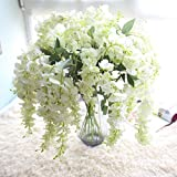 Glyzinie Blume, Frashing Unechte Blumen Blumenrebe Künstliche Deko Blumen Gefälschte Blumen Seidenrosen Plastik Braut Trockenblumen für Haus Garten Party Blumenschmuck (Weiß)