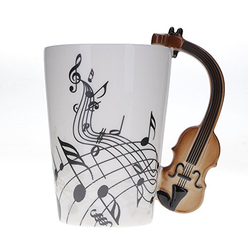 Mmrm Mug mit geige, gitarre, klavier, kreative Mug musik instrument keramik becher tee tasse milch...