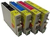 1 Set Compatibile Xl Cartucce di Inchiostro CON CHIP , Epson (1x NERO T711,1x CIANO T712, 1x MAGENTA T713, 1x GIALLO T714) - adatto a STILO D120, D120 rete Edition, D78, D92, DX4000, DX4050, DX4400