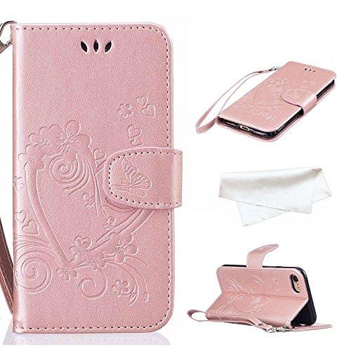 Cover per iPhone 8 / iPhone 7, Vectady Cover Custodia in Pelle a Libro Portafoglio Wallet Magnetica Flip Cuoio Leather Case Protettiva Antiurto Caso con Porta Carte Funzione Cinturino da Polso Disegni Oro Rosa