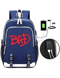 4c6b4916fa SJYMKYC Michael Jackson BAD Backpack USB, Borsa Da Viaggio Per Uomo E Donna  Borsa Da