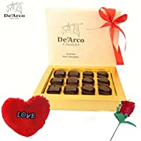 De'Arco Chocolatier Valentine chocolate for girlfriend, Valentines Day Chocolates, Valentines Day Gift Hamper, Premium Chocolate, 135g + FREE -Furr Heart + Rose