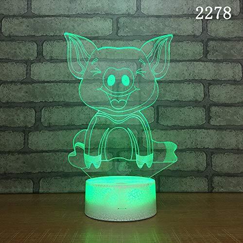 3D Illusion Lampe Dummy Piggy Night 3D Lampe Schlafzimmer Nachttisch 3D Licht Neuheit Spezialität Produkt Usb-Netzteil Tabelle Led Nachtlicht (Acryl Dummies Für)