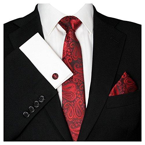 GASSANI Herrenkrawatte Schmal Paisley-Muster, Schwarze Rote Hochzeitskrawatte Gemustert, Einstecktuch Manschettenknöpfe Z. Hochzeits-Anzug Sakko