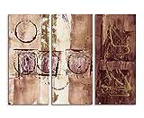 Abstrakte Kunst 130x90 cm 3 teiliges Leinwandbild Fotoleinwand braun beige oliv Kreise