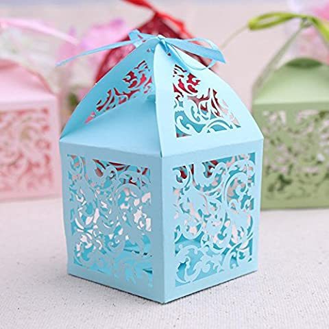 XHDWNBM 20 Pcs Zucchero Miele Cartridge-Hi Confezione regalo matrimonio Creative incisione vassoio Hi sacchetto Scatola caramella , Natale regalo di blu 16 ,.