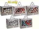 86-teiliges Christbaumschmuck Set - Christbaumkugel-Set Christbaumkugeln - verschiedene Farben Variante 4 - Silber