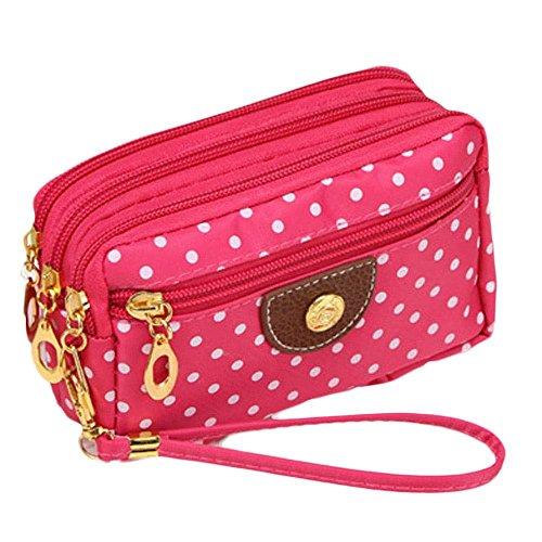 ouneed-fashion-women-wristlets-bag-messenger-wave-canvas-zipper-bag-hot-pink