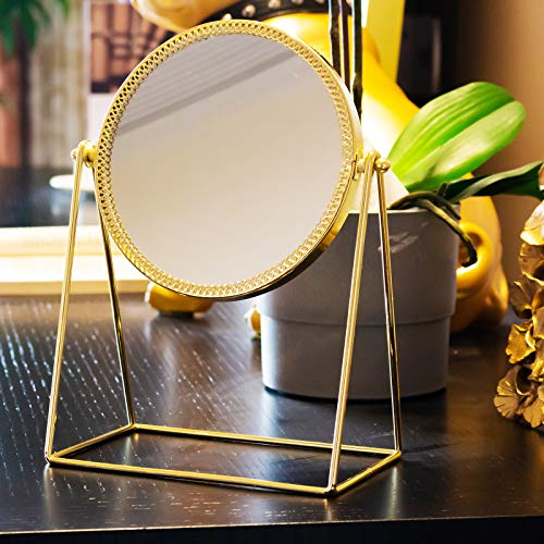Dawoo Kompaktes Make -up Spiegel für Handtasche, 1X /10X Vergrößerung - Natural Daylight LED, Travel Size, Portable, Large 127mm Wide Illuminated Mirror, Rose Gold (Lumi)