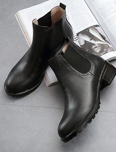 CU@EY Da donna-Stivaletti-Casual-Comoda-Quadrato-Di pelle-Nero black-us6.5-7 / eu37 / uk4.5-5 / cn37