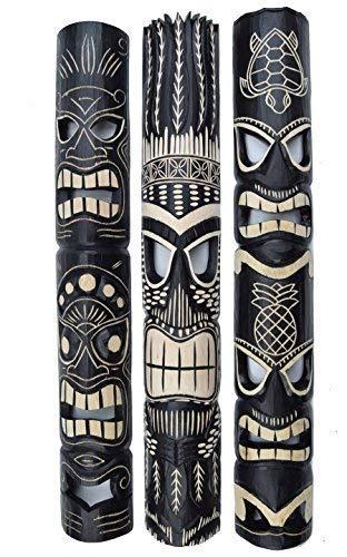 3 Tiki Wandmasken 100cm in Tiki Hawaii Style Maske Wandmaske Holzmaske