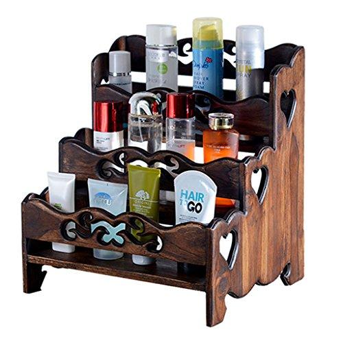 Vanity Stand (XXGI Vintage Massivholz Schminkregal Kosmetik Lagerregal Vanity Stand Finish Badezimmer Badezimmer Regal Badezimmer Regal (35 * 29 * 34Cm))