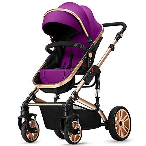 GH&YY Kinderwagen Neugeborene Kinderwagen Mit Wetterfester Abdeckung Faltbar 0~36 Monate Beidseitig,Purple (Abdeckung Wetterfester)