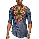 Hzjundasi Hombre Africano Nacional Ropa Camisetas Cuello en V Manga corta Retro