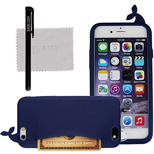 xhorizon® Nett Niedlich Wal Weich Silikonhülle für Apple iPhone 6 4.7 Zoll mit Augenaufkleber Dunkelblau
