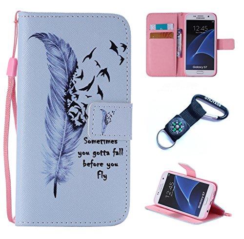 für Samsung Galaxy S7 Hülle Blume Premium PU Leder Schutzhülle für Samsung Galaxy S7 (5,1 Zoll (12,9 cm) Bookstyle Tasche Schale PU Case mit Standfunktion(+Outdoor Kompass Schlüsselanhänge) XS (6)