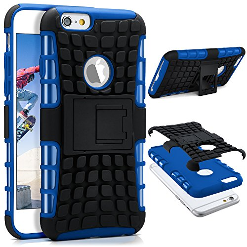 ONEFLOW iPhone 6S | Hülle Silikon Hard-Case Blau Outdoor Back-Cover Extrem Stoßfest Schutzhülle Grip Handyhülle für iPhone 6/6S Case Rückseite Tasche