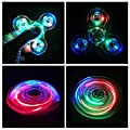 Hand Spinner Fidget Toy, LED Light Spinner Fidget Jouet Tri Fidget Spinner Finger Pour Adultes Enfants ( Cristal Transparent) (Bleu)