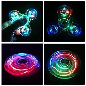 Hand Spinner Fidget Toy, LED Light Spinner Fidget Jouet Tri Fidget Spinner Finger Pour Adultes Enfants ( Cristal Transparent) (Bleu)