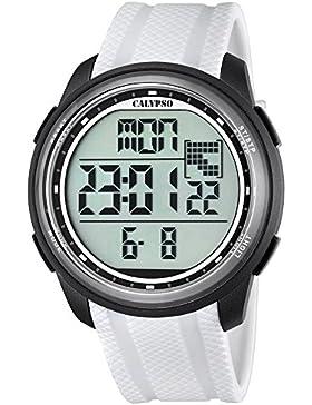 Calypso Herren-Armbanduhr Sport digital PU-Armband weiß Quarz-Uhr Ziffernblatt schwarz UK5704/5