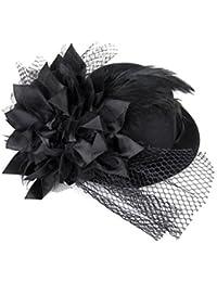dasuke flores decoración cabello Clip pluma Fascinator Burlesque Punk Mini sombrero para mujer–talla única (negro)