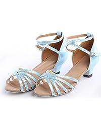 9e8167efe TMKOO Dance shoes Children's dance shoes Women's Latin shoes (Color : Blue,  Size :
