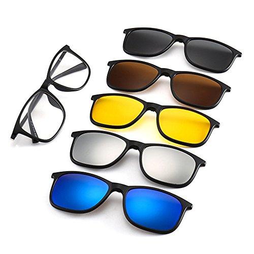 Memoryee Unisex Retro 5Pcs magnetische abnehmbare Clip-on polarisierte Sonnenbrille TR Frames Ultra Light Set 2263