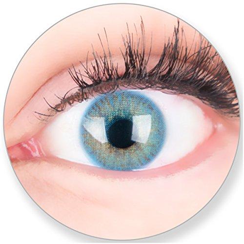 Glamlens Kontaktlinsen farbig blau ohne und mit Stärke - mit Kontaktlinsenbehälter. Sehr stark deckende natürliche blaue farbige Monatslinsen Ocean Blau 1 Paar weich Silikon Hydrogel -1.0 Dioptrien