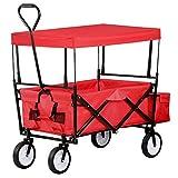 tinkertonk zusammenklappbarer Wagon mit Dachgartenwagen, Draußen Garten Strand Sport (Rot)
