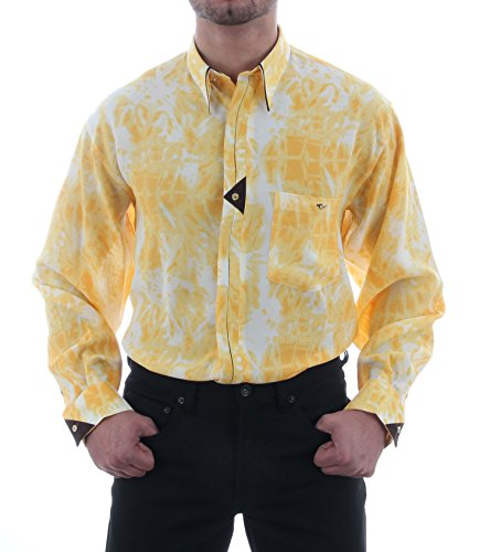 Oberhemden in Eigelb/batik, für Herren BESTE QUALITÄT, HK Mandel Festliches Hemd Langarm Normal Nicht Tailliert, 3563 Eigelb/batik