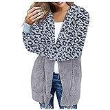 Giacca da Cardigan Invernale da Donna con Cappuccio in Felpa Color Panna con Cappuccio Color Peluche E Stampa Leopardo(M,Blu)