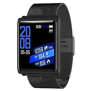 Findtime Unisex Uhr Digital Quarz Edelstahl Silikon Fitness Tracker Farbbildschirm