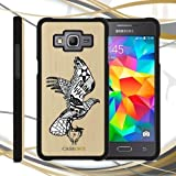 CUSTODIA COVER CASE AQUILA NERA TRIBALE PER SAMSUNG GALAXY CORE PRIME IN LEGNO