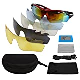 LeaningTech Unisex Polarized Cycling Sunglasses Sports with Short-sightedness Frame, Goggles for Men and Women 5 Exchangeable Lenses, UV400 for Sport Biking Skiing Fishing Riding Driving Jogging Golf