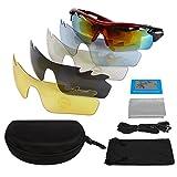 LeaningTech Unisex Polarisiert Fahrradbrille Sonnenbrille Sportbrille Schutzbrille mit Kurzsichtigkeit Rahmen für Herren und Damen mit 5 Wechselgläser, UV400 für Sport Radfahren Skifahren Fishing Angeln Reiten Fahren Laufen Joggen Golf