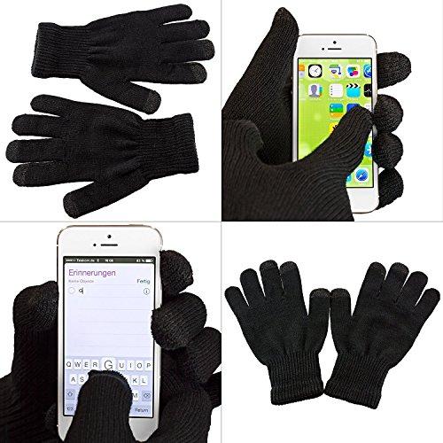 Premium Touchscreen Handschuhe – für Geräte wie Apple iPhone 6, 6 Plus, iPhone 7, 7Plus, iPhone 5, Samsung Galaxy S6, S6 Edge, Samsung Galaxy S7, S7 Edge und alle weiteren Smartphones – in schwarz