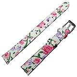 TIME4BEST New 12mm Rose Floral Motiv weiß Kunstleder Uhr Band Uhrenarmband Damen