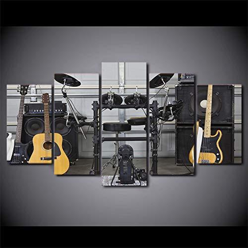 YCWYF Moderne HD Gedruckt WandkunstLeinwand Bilder 5 Stücke Musikinstrument Gitarre Trommel Akustik Gemälde Poster Wohnkultur