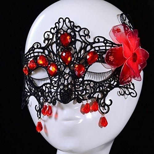 bal Venezianische Maske schwarze Spitze mit Blumen und Perlen, Rot