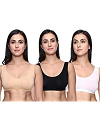 Trasa Air Bra, Sports Bra, Stretchable Non-Padded and Non-Wired Seamless Bra for Women's and Girls, Free Size ( Size 28 to 36) - Pack of 3
