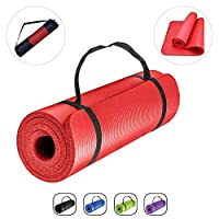 ROMIX 15MM Fitness Yoga Mat with Carry Bag and Strap, Thick Non-Slip Exercise Mat, Lightweight Memory Foam Pilates Gym Workout Pad for Men and Women