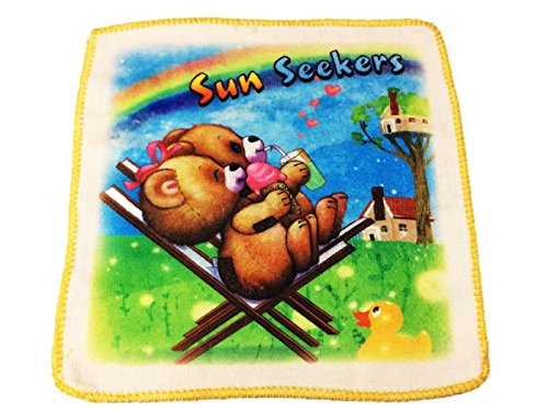 Platinum Kids Cartoons and characters printed Baby soft cotton towel based Handkerchief/Napkins in a pack of 4.