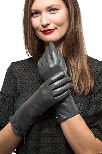 e Ellenbogenlänge mit Reißverschluss für Frauen | Touchscreen Langärmelige Handschuhe aus Echtleder mit Thinsulate Innenfutter für Herbst & Winter (Lange Handschuhe Touch Screen)