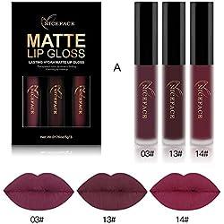 Conjunto de 3 Colores de Pintalabios Mate Larga Duracion Labial Permanente Maquillaje de Profesional para Niñas por ESAILQ