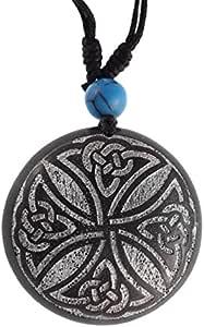 Chic-Net® Collana in legno argento con incisione turchese pietra legno sono, cotone regolabile unisex