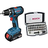 Bosch Professional Akkuschrauber GSR 18-2 LI (2x 1,5 Ah Akku, 18 Volt, Schrauben-Ø max: 7 mm, in L-BOXX) + Bosch 32tlg. Bit Set (Zubehör für Schraubanwendungen)